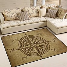 Naanle Vintage Compass Rose Non Slip Area Rug for