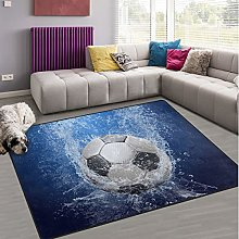 Naanle Water Drops Soccer Non Slip Area Rug for