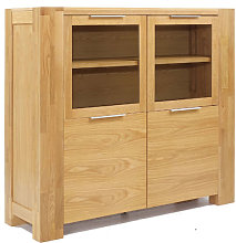 Nadria Solid Oak Finish Display Cabinet With 4 Door