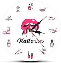 Nail Polish Bottles and Accessories Wall Clock