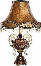 nakw88 Desk lamp Brown Red Lamp Shade Cloth Tassel