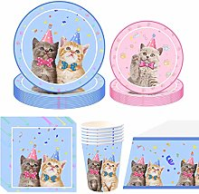NAL Cat Party Supplies Tableware Set Cat Birthday