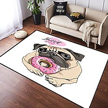 NANITHG Area Rugs Adorable beige puppy Pug with a