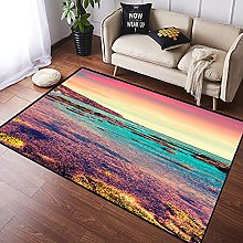 NANITHG Area Rugs Colorful Sunbeams with Clouds in
