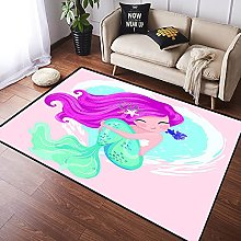 NANITHG Area Rugs Cute mermaid with little fish