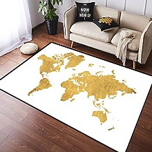 NANITHG Area Rugs gold map Soft Large Carpets Rug