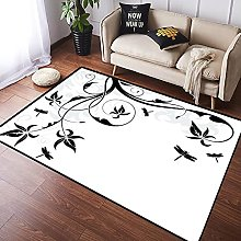 NANITHG Area Rugs loral background with dragonfly