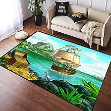 NANITHG Area Rugs Pirate Island Soft Large Carpets