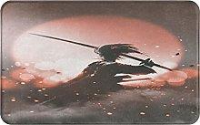 NANITHG Bath Mat,Non Slip Bath Rug,Samurai With
