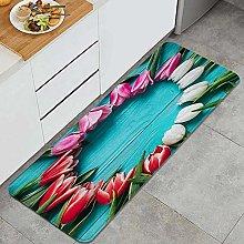 NANITHG Kitchen Mats Rug Washable,Tulip Flower