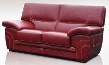 Naples 2 Seater Genuine Italian Red Leather Sofa