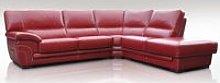 Naples 3 + Corner + 1 Genuine Italian Red Leather