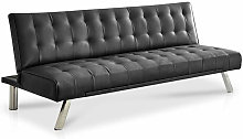 Naples 3 Seater Sofa Bed Faux Leather Black Grey