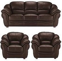 Napoli Leather 3 Seater Sofa + 2 Armchairs Set