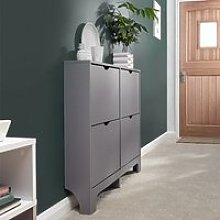 Narrow Wooden Shoe Storage Cabinet In Grey With 4
