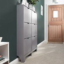 Narrow Wooden Shoe Storage Cabinet In Grey With 6