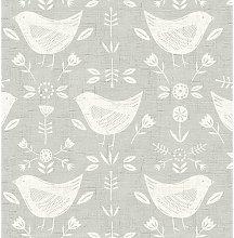 Narvik Grey Scandinavian Birds Curtain and
