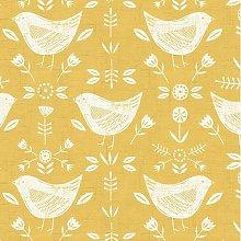 Narvik Ochre Yellow Scandinavian Birds Curtain and