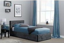 Natalia Black Velvet Single Ottoman Bed