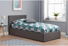 Natalia Grey Velvet Single Ottoman Bed