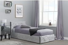 Natalia Steel Velvet Single Ottoman Bed