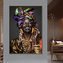 National Style Black Woman African Canvas Painting