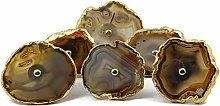 Natural Agate Knob Brown Electroplated Cabinet