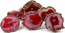 Natural Agate knob Red Electroplated Shade Stone