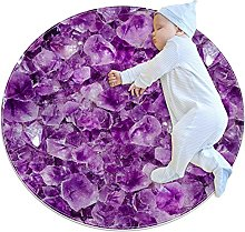Natural amethyst crystal, Printed Round Rug for