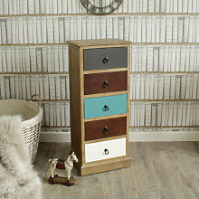 Natural Drift Wood 5 Drawer Tallboy chest of