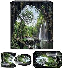 Natural Waterfall Bathroom Set Shower Curtain 3pcs