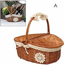 Natural wicker basket with lid and handle basket