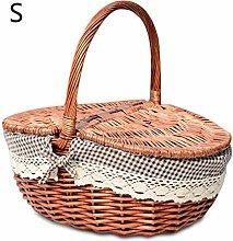 Natural Willow Wicker Camping Picnic Basket