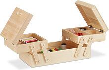 Natural Wooden Sewing Basket, Foldable, No