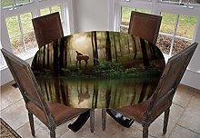 Nature Round Tablecloth,Baby Deer in the Forest