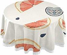 Naughty Orange Pattern Round Linen Tablecloth