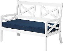 Nautical Acacia Garden Patio Bench White with Blue Cushion Baltic
