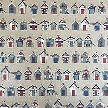 Nautical Beach Hut Rows Design Cotton Rich Linen