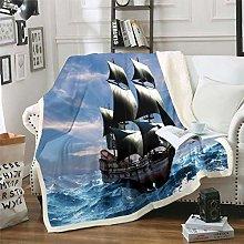 Nautical Decor Fuzzy Blanket Sailboat Printed