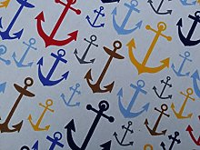 Nautical Large anchor motif Print fabric seaside