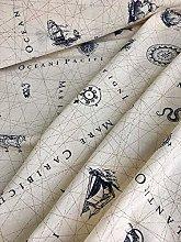 Nautical Marine Map Print Fabric - Ocean Anchor