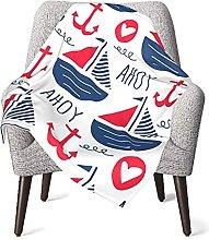 Nautical Pirate Sailboat Baby Blanket Boys Soft
