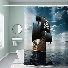 Nautical sailboat Shower Curtain with 12 Hooks,