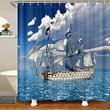 Nautical Shower Curtain for Sailboat Bathroom