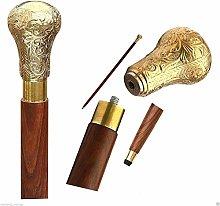 Nautical Style Designer Brass Handle Brown Wooden