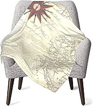 Nautical Travel Map Baby Blanket Double Layer