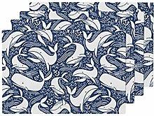 Nautical Whales Ocean Sea Water Anchor Blue White