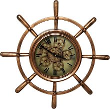 Nautical Wheel Shaped Wall Clock In Brown And