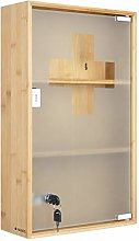 Navaris Medicine Cabinet - Lockable Bamboo Cabinet