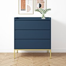 Navy 3 Drawer Chest of Drawers - Zion